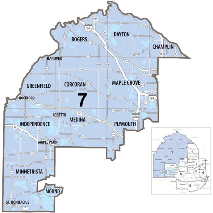 Map of Hennepin County commissioner district 7